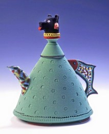 Low-fire porcelain teapot, Anchorage Musem Purchase Award