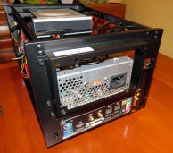 Jury rigged power supply used until the full-sized ATX power supply arrives.