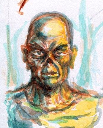 Watercolor zombie doodle