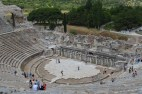 Theatre at Ephesus. The clump of trees to the left of the picture is in the Agora (marketplace) where Demetrius and others worked who opposed Paul and the Way