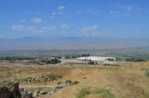 looking down to Hierapolis and Pamulakke from St Philip's church