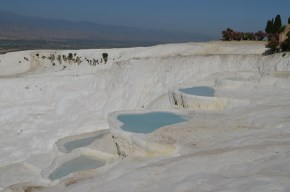 Some of the pristine pools at Pamukkale. Not allowed to get to them!
