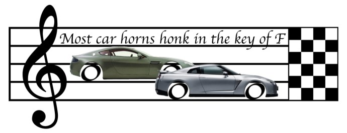 Most car horns honk in the key of F