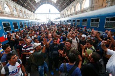 Male refugees arriving