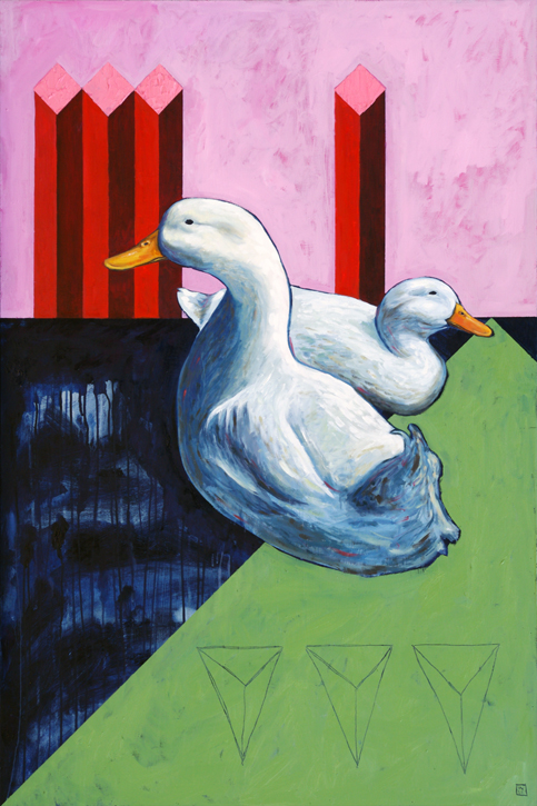 Sitting Ducks Unlimited Original Oil Painting