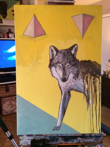 Out Come the wolves oil painting animal artist Will Eskridge