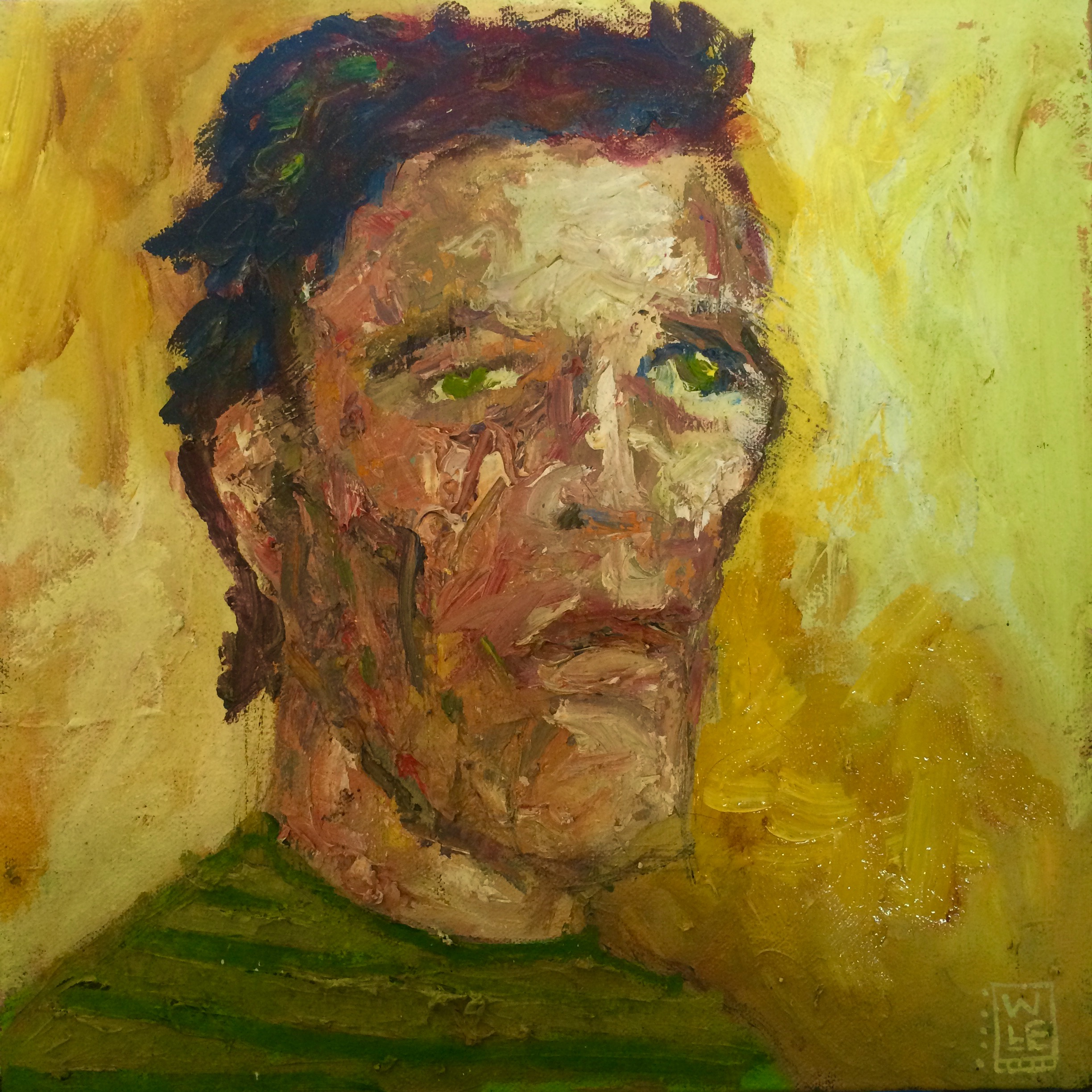 Striped Shirt And Black Eye Oil Portrait Art Painting Will Eskridge