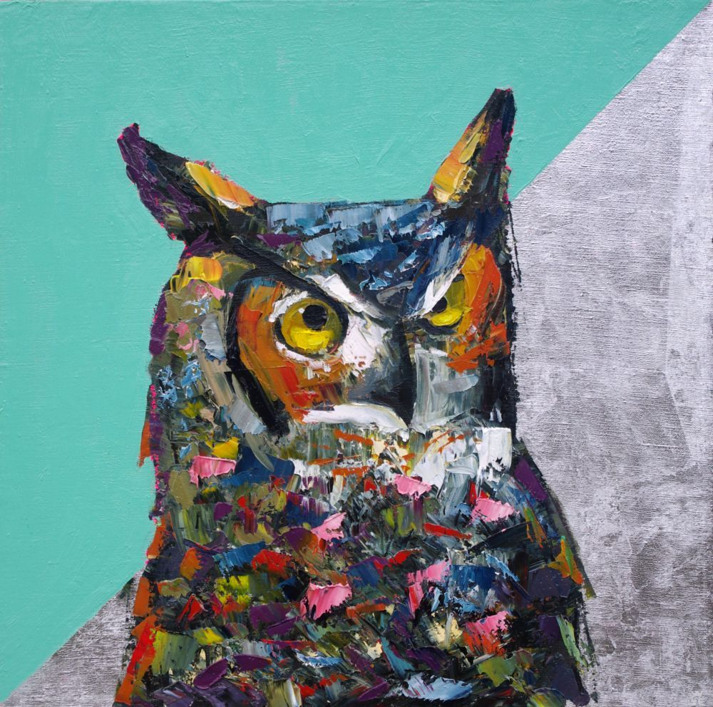 They Came for Silver animal artist art wildlife painting horned owl Will Eskridge