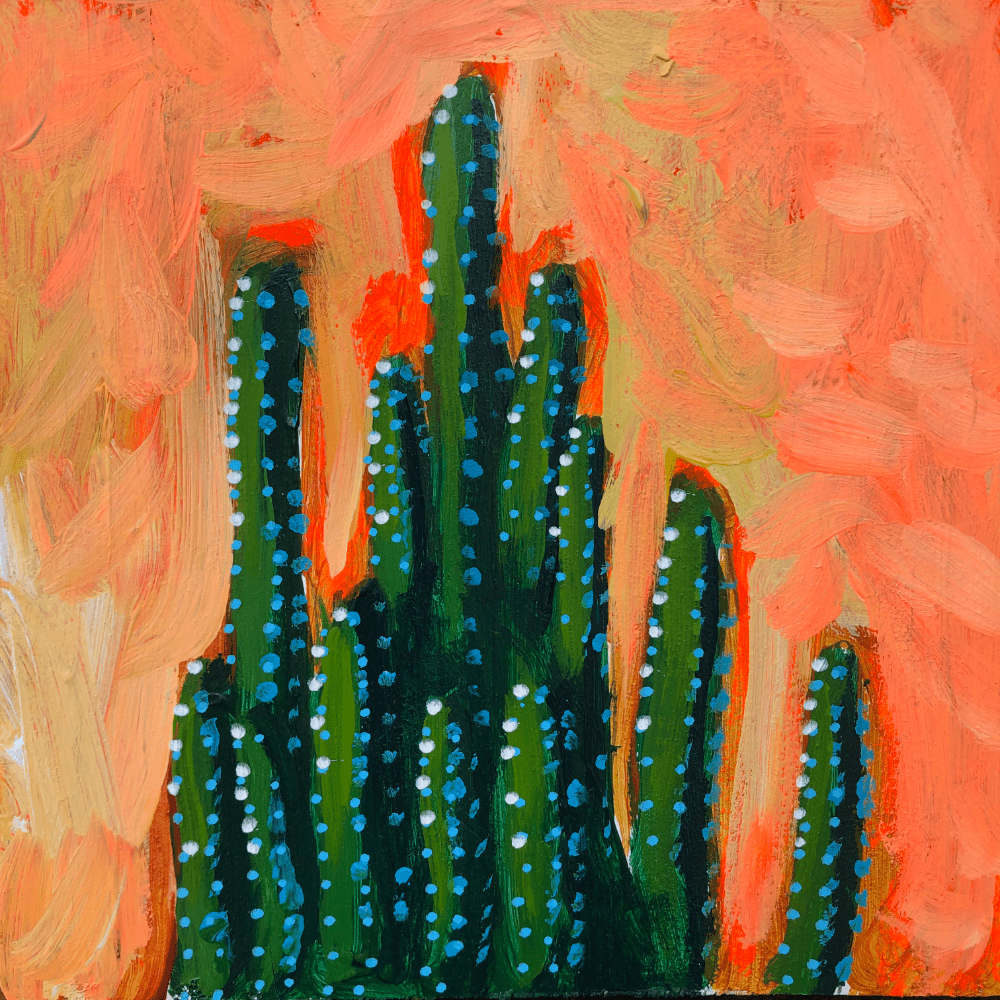 Fairy Castle Cactus Succulent Original Painting