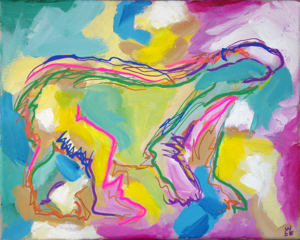 Central Nervous Breakdown Polar Bear Abstract Painting
