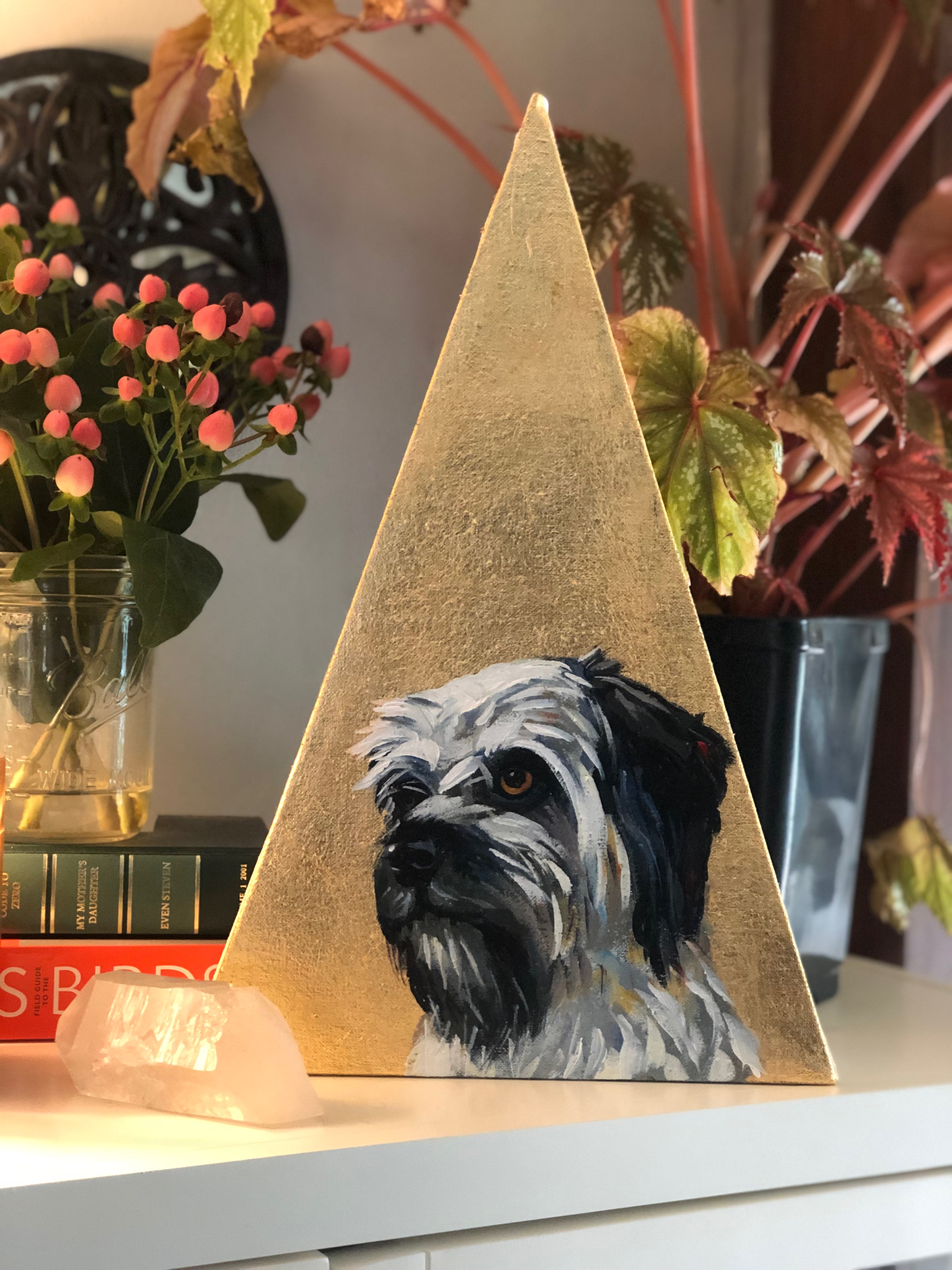 Gold Triangle Canvas Painting Icon Contemporary Pet Portrait Scruffy Animal Artist Art Athens Georgia Will Eskridge