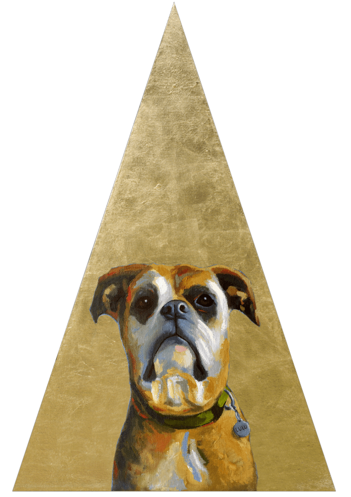 Triangle Golden Contemporary Pet Portrait Animal Artist Custom Painting Will Eskridge