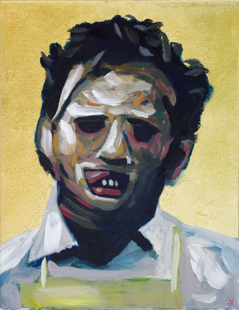 Leatherface texas chainsaw massacre gold icon contemporary painting portrait art Will Eskridge