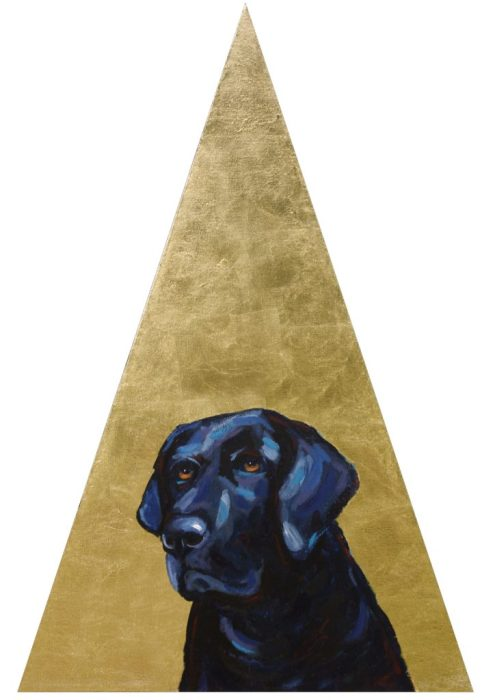 Lola Triangle golden pet portrait animal artist custom painting Will Eskridge