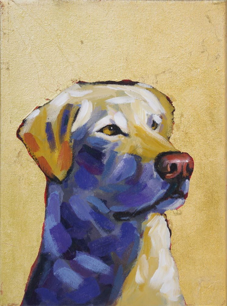 Yellow Lab contemporary pet portrait animal artist dog painting athens georgia Will Eskridge