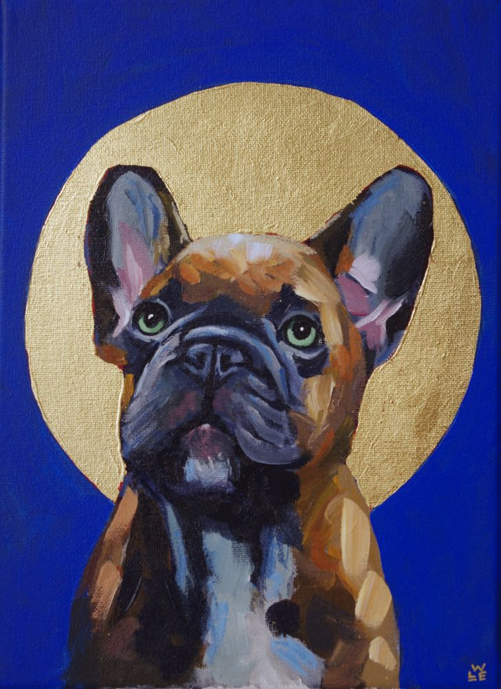 Bruno French Bulldog Contemporary Pet Portrait Animal Painting Will Eskridge