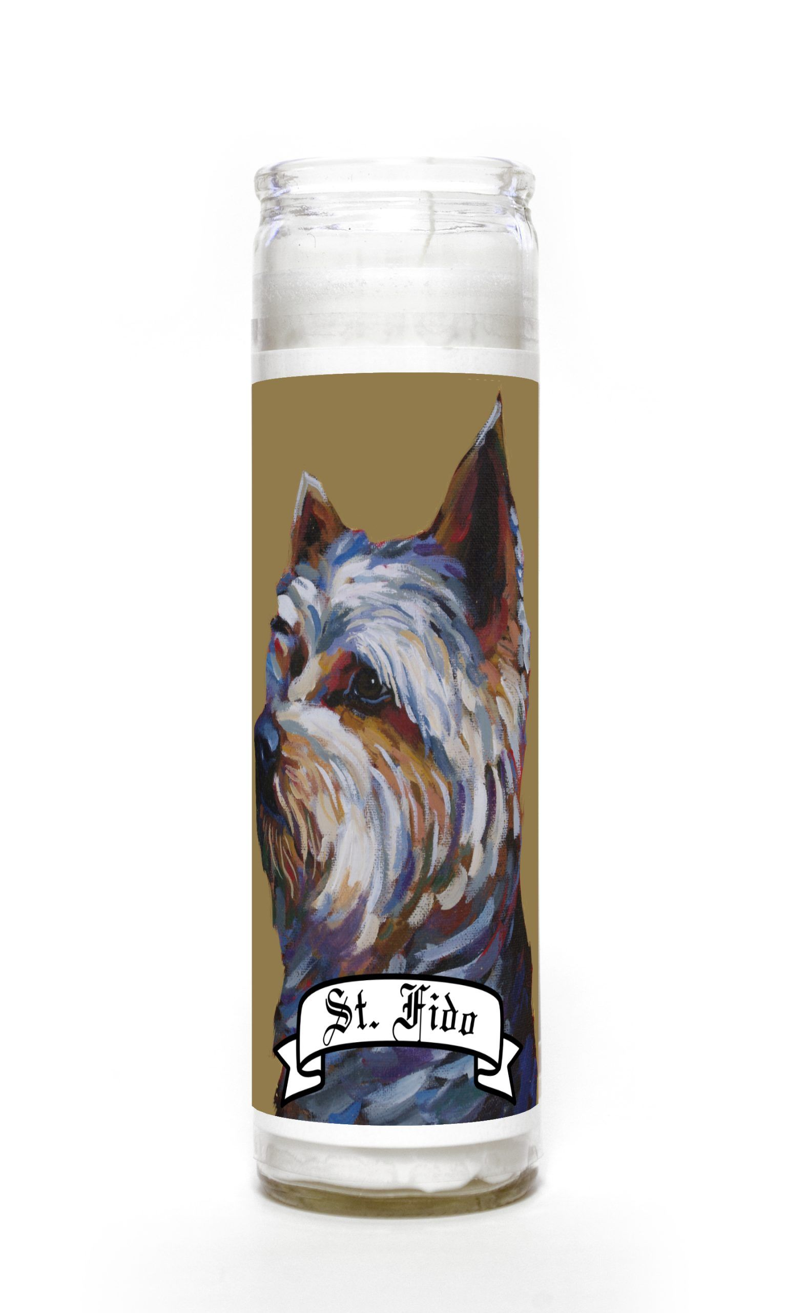 Yorkshire Terrier contemporary pet portrait animal painting personalized spirit prayer novena Candle
