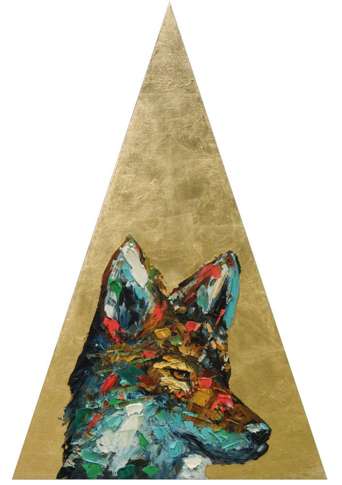 Coyote elusive phases contemporary Triangle golden animal art artist wildlife painting Will Eskridge
