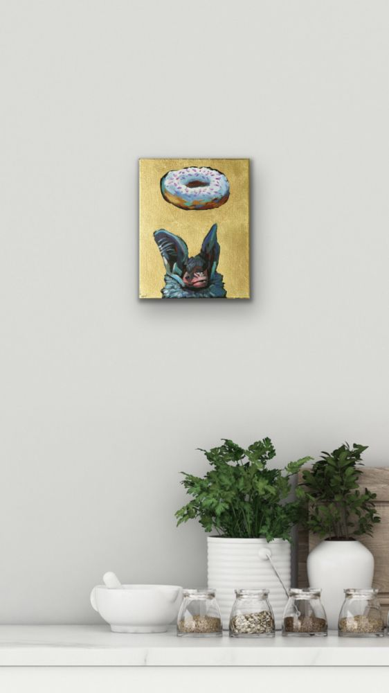Donuts Will Save The World Bat 2 Painting Wildlife Artist Art Contemporary Halo Saint Humor Punk Rock N Roll Gold Leaf Athens Georgia Will Eskridge Insitu
