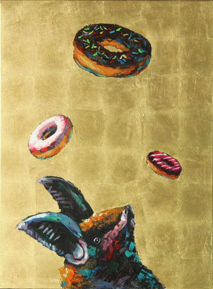Take a Chance While You Still Got the Choice bat donut ACDC painting wildlife artist art contemporary halo saint humor punk rock n roll gold leaf athens georgia Will Eskridge