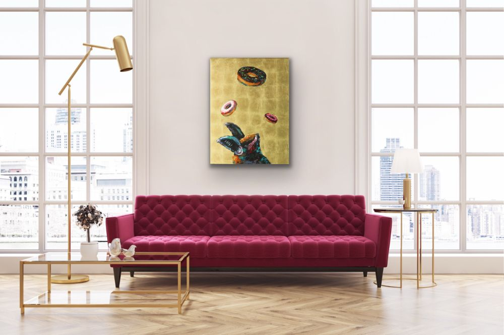 Take A Chance While You Still Got The Choice Bat Donut Outcast Animal Gold Leaf Funny Humor Surreal Wildlife Art Contemporary Saint Icon Athens Artist Acrylic Painting Will Eskridge Insitu