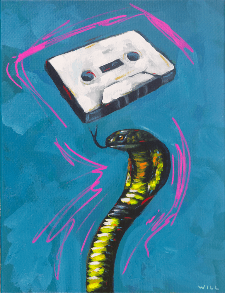 Snake Tape mix cassette tape king cobra slither pink blue funny cute glam rock n roll metal 80s party painting Will Eskridge-web