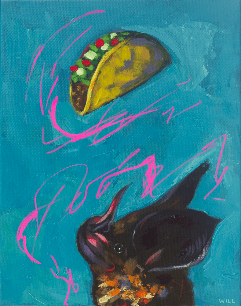 Taco Bat You Johnny Thunders Blue Funny Cute Glam Rock N Roll Metal 80s Party Painting Will Eskridge