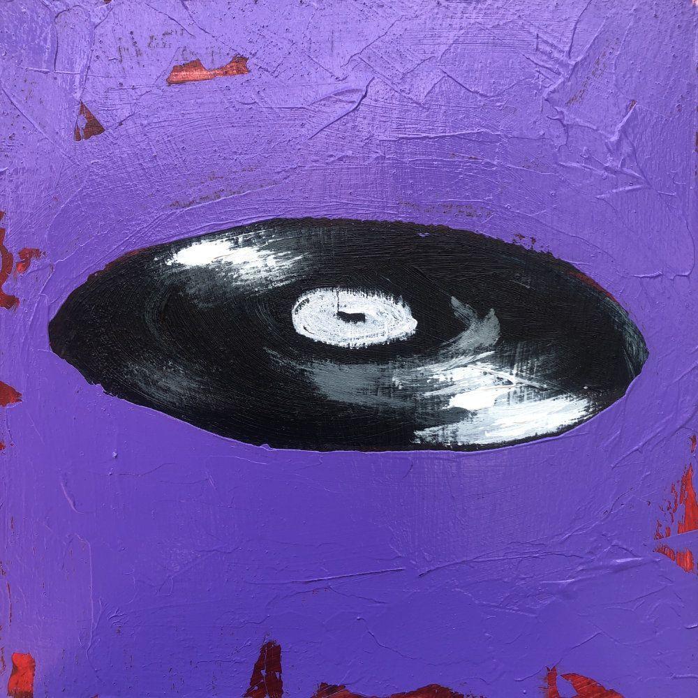 Hit Single Vinyl Record Purple Original Painting