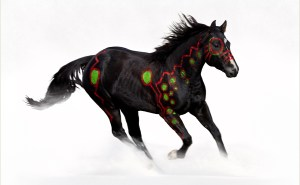 Art of a black war pony titled Crow War Pony-2