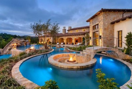 pool with fire pit