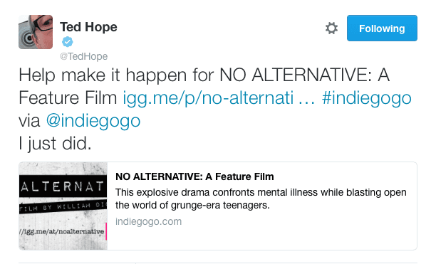 Ted Hope - No Alternative - Tweet