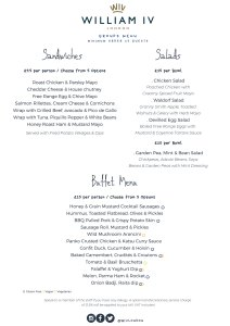 New Buffet menu William IV london pub