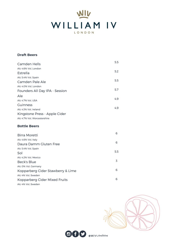Williamiv pub drinks menu