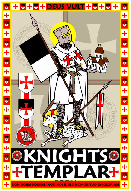 Knights Templar holding Beseant 13x19 Poster - William Marshal Store