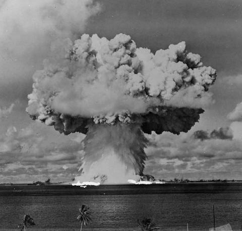 Test Able atomic bomb explosion. Operation Crossroads 75th Anniversary
