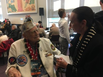 """Midway"" reception, meeting Don Long, Pearl Harbor survivor"