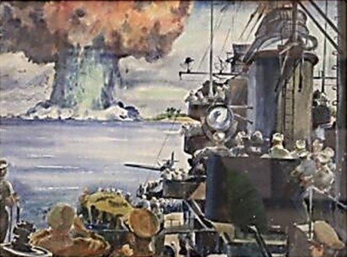 Beaumont painting of Baker bomb, Bikini 1946