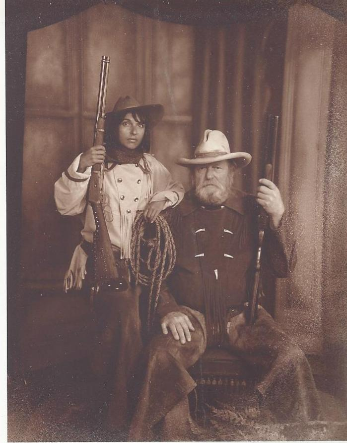 Bill and Sandra McGee in old West costumes, Virginia City, Montana, 1990s