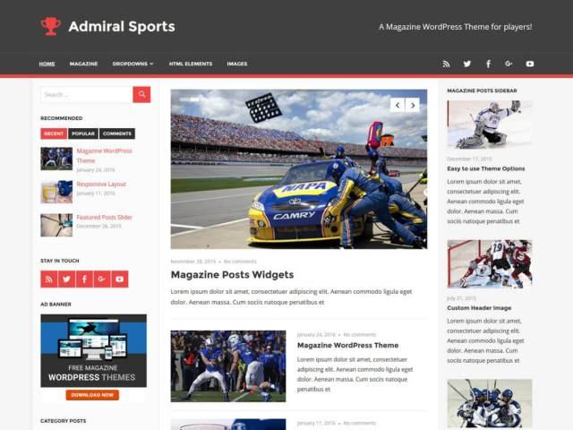 free wordpress blog theme admiral
