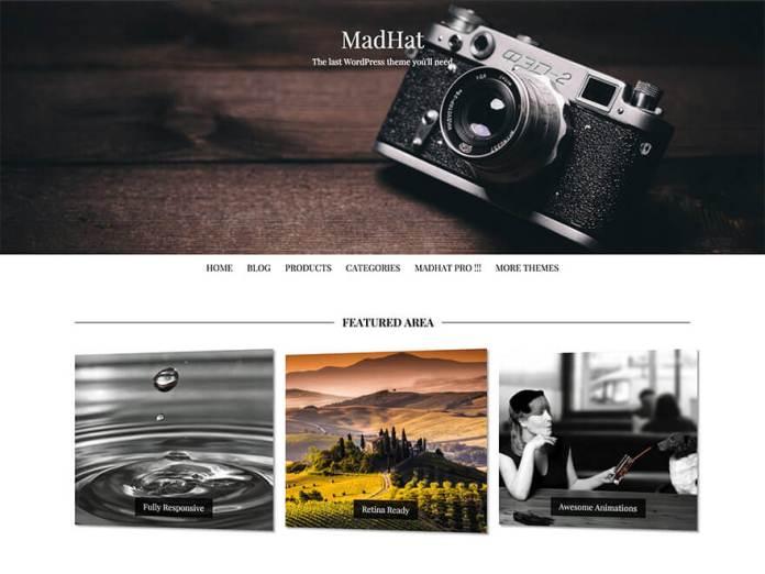 free wordpress blog theme madhat
