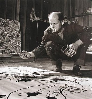 Jackson-Pollock-at-work-in-his-studio