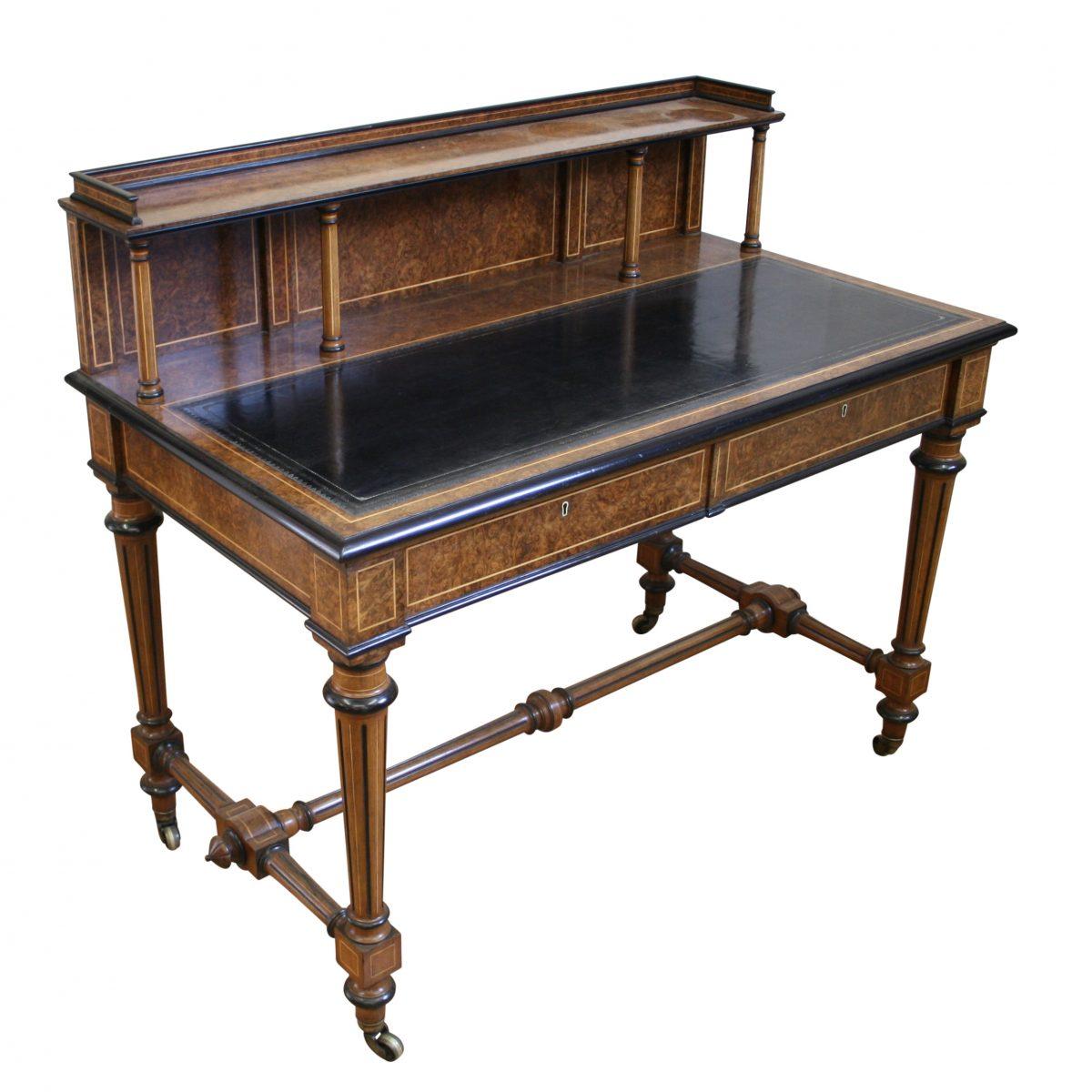 An antique Victorian Burr Walnut writing desk Williams