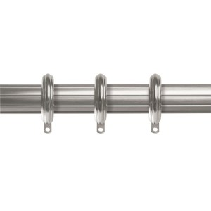 "1-3/8"" Rod - 120""-180"" Fluted with Rings - Satin Nickel"