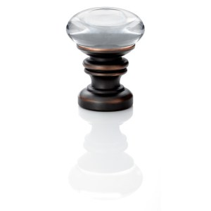 "1-3/8"" Europa Finial - Acrylic accent with Dark Oiled Bronze"