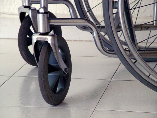 Image of a wheelchair for an article about wheelchair pressure sores in the elderly.