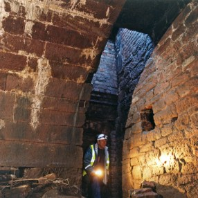 Underneath the entrance hatch