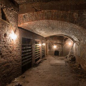 Back under the house site, this chamber is known as the Wine Bins. The wooden racks are recent, from some filming work.