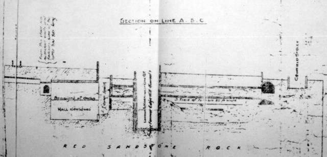 Cross section of the Triple Decker tunnel, chopped in half by the railway cutting.