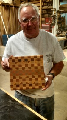 Jim Stuck and his finished end-grain cutting board