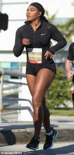 1st Annual South Beach Serena Williams Ultimate Run: Serena looking fit and beautiful in her Nike Shorts...motivating fellow competitors with a glimpse of her long, muscular legs.